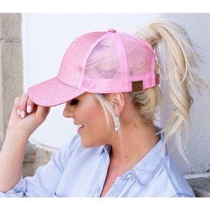 Pink Glitter   Messy Bun / Ponytail Ball Cap